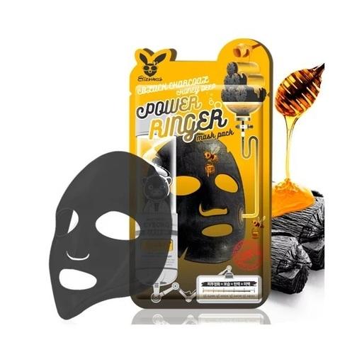Elizavecca Тканевая маска для лица black charcoal honey deep power ringer mask pack
