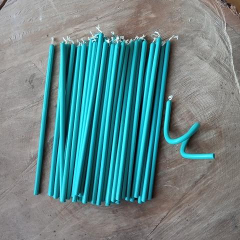Восковые свечи  голубые