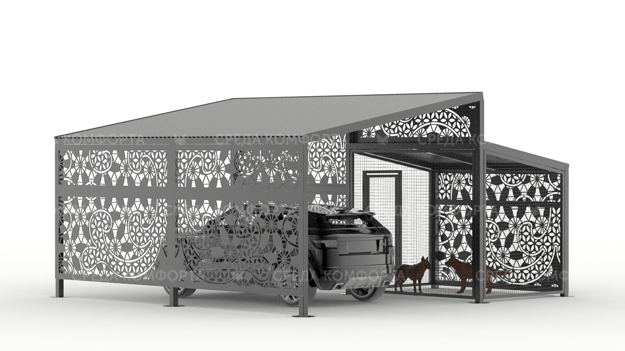 Навес с будкой для собаки (длина 6 м ширина 3 м высота 3 м) AVNVS0014