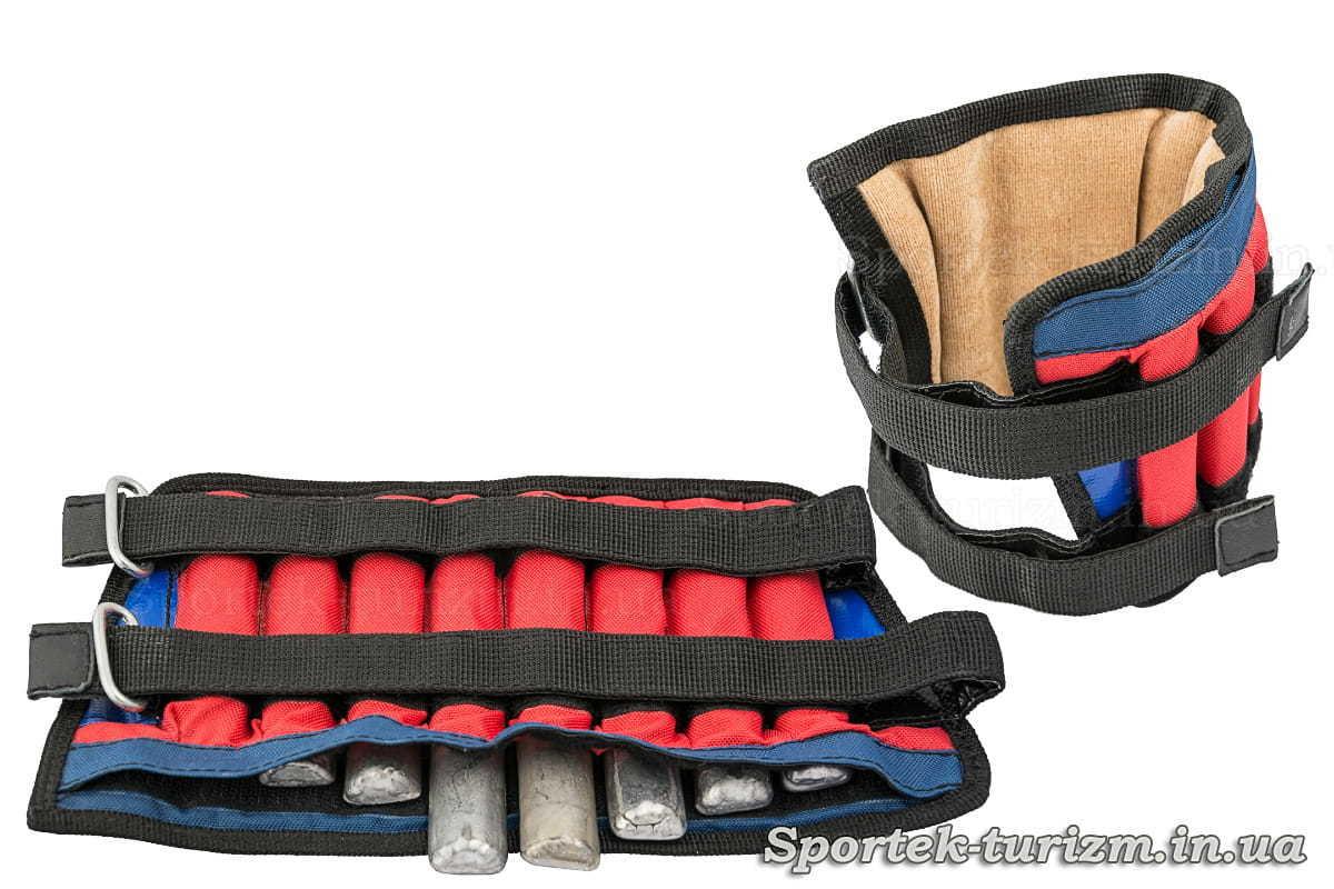 Утяжелители для ног и рук (2 шт) со свинцовыми вкладками, с переменным весом от 0,3 до 2 кг
