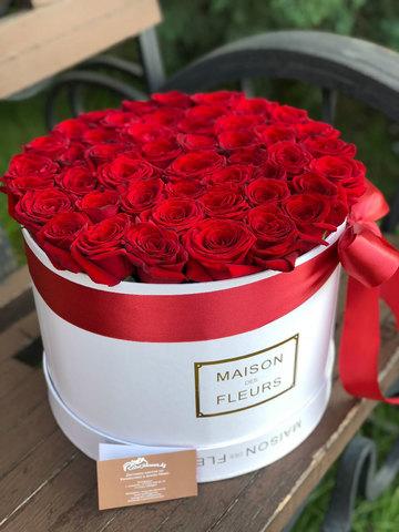 45 красных роз в коробке Maison Des Fleurs