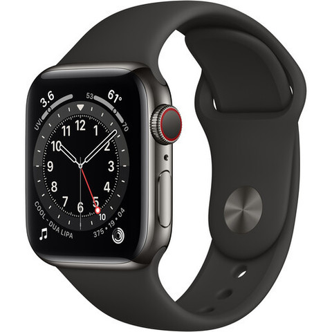 Часы Apple Watch Series 6 GPS + Cellular 40mm Stainless Steel Case with Sport Band (Black) (M02Y3)