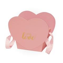 Коробка Для Цветов «Трапеция-сердце» Розовый, 19,6см*12,5см*16,3см, 1 шт.
