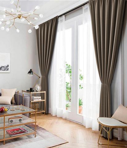 Комплект штор рогожка Раймонда серо-коричневый
