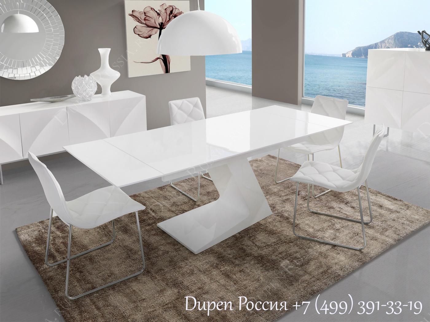 Обеденный стол DUPEN DT-21 Раскладной Белый, стулья DUPEN DC-108, Буфет DUPEN W-101 Белый, Буфет DUPEN W-102 Белый
