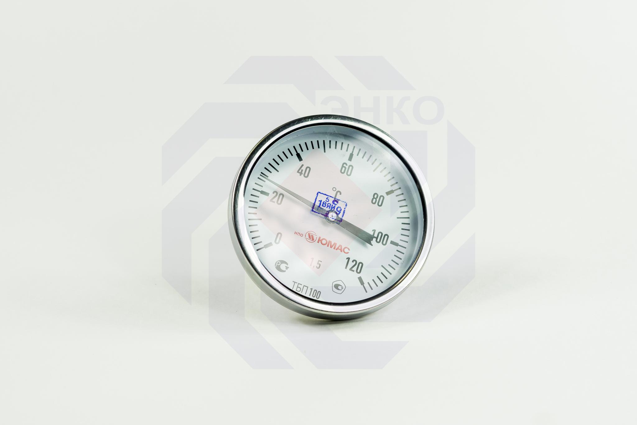 Термометр биметаллический аксиальный ЮМАС ТБП100/50/Т 0-120 °С 100 мм ½