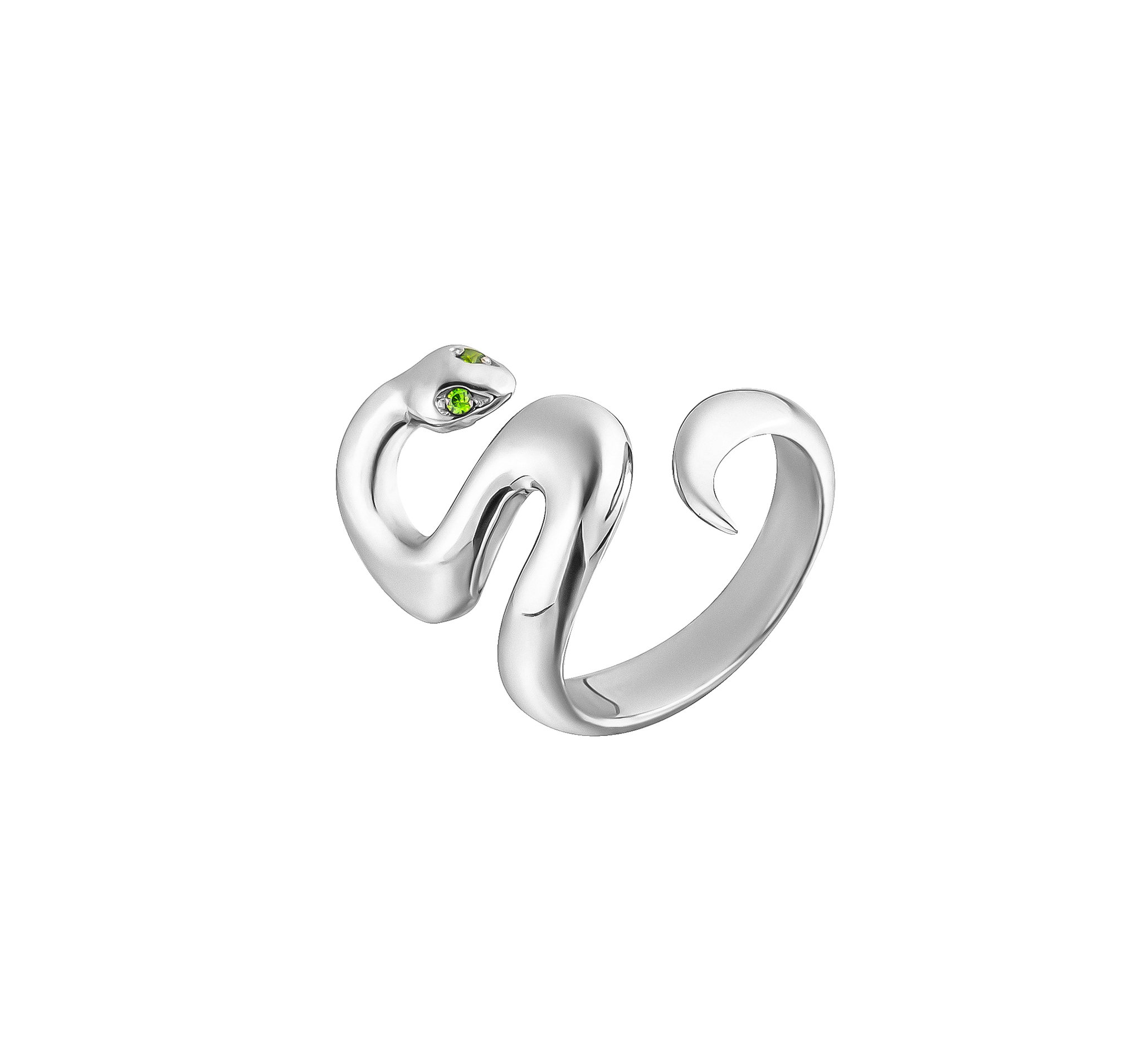 Кольцо из серебра, покрыто родием и натуральным демантоидом