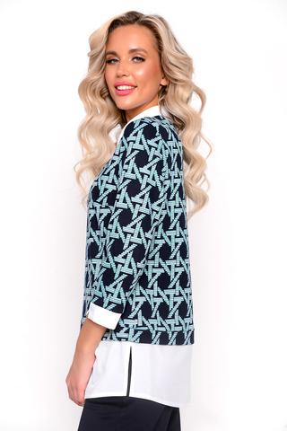 """<p>Офисная туника идеально сочетается с брюками """"Орион"""" из новой осенней коллекции ELZA 2021. Имитация трикотажного блузона с модным принтом, плюс ворот и низ изделия из блузочной ткани - это шедевр нашей коллекции.</p>"""