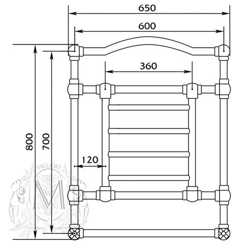 Полотенцесушитель водяной Migliore Edward ML.EDW-HY.600 схема
