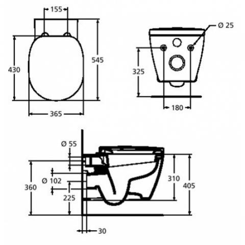 Унитаз подвесной с сиденьем микролифт Connect Ideal Standard E803501 схема