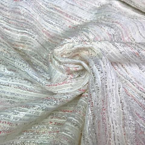 Ткань твид с органзой с розовой нитью 3004
