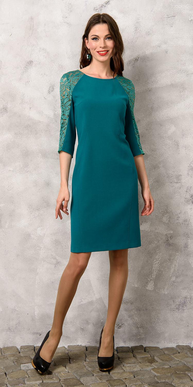 Платье З155-303 - Эффектное платье, комбинированное из двух видов тканей: текучей поливискозы-стрейч и кружева в тон.