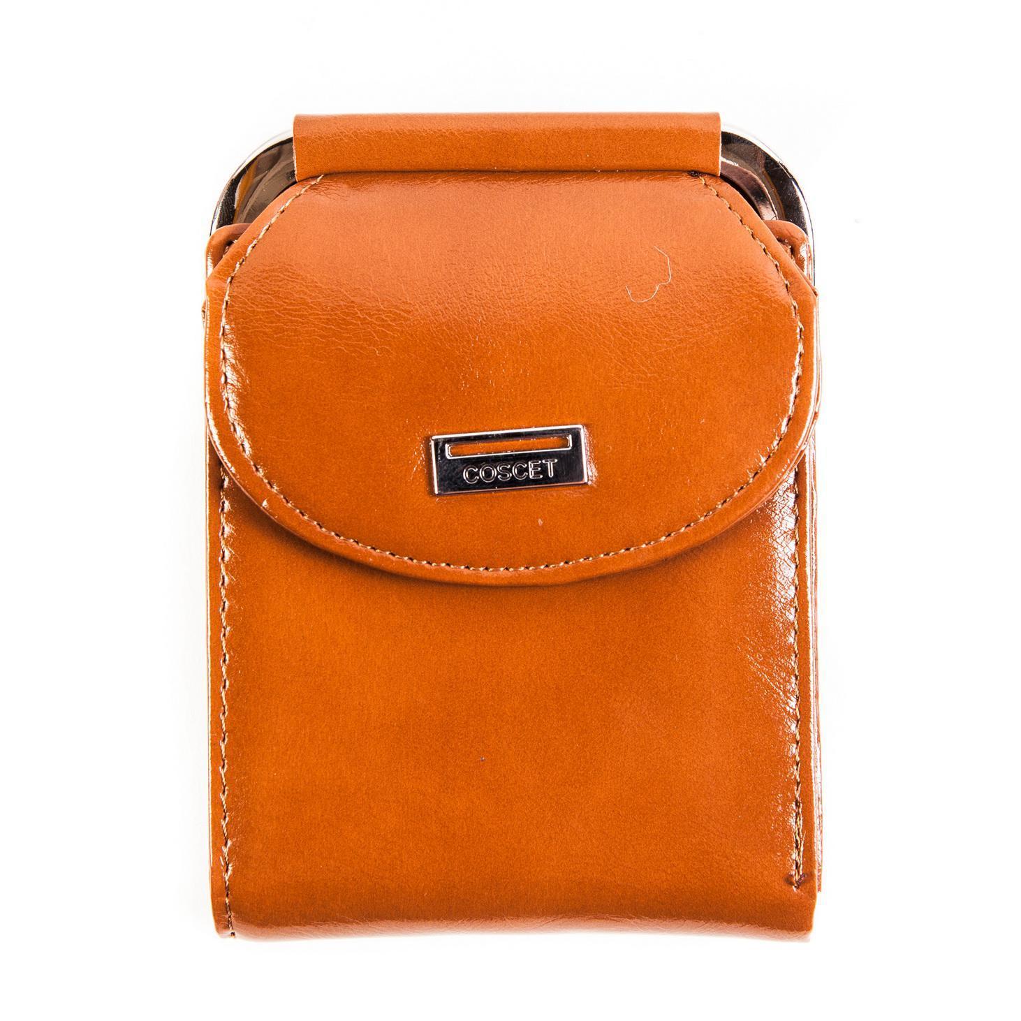 Стильный оранжевый женский кошелёк из из искусственной кожи с внешним отделением из 2 секций для мелочи, 1 большим отделением для купюр и 4 кармашками для карт, 2 кармашками для sim-карт CS208-107D