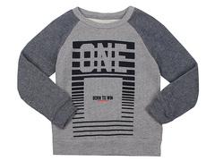BAC004378 джемпер детский, серый меланж/темно-синий