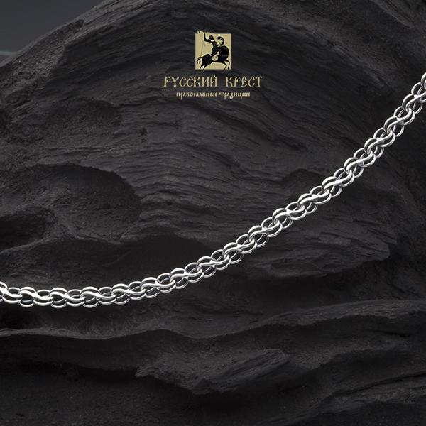 Цепь серебро с чернением  плетение Ручей.