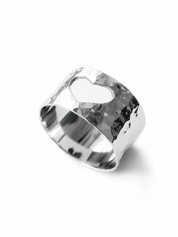 Серебряное широкое битое кольцо