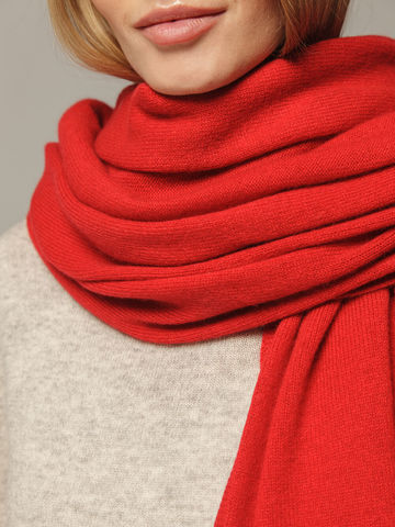 Женский шарф красного цвета из 100% кашемира - фото 3