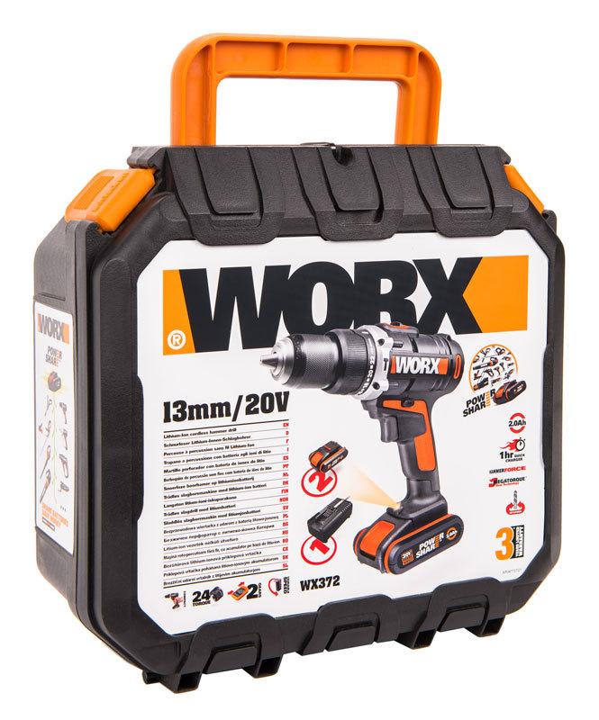 Дрель-шуруповерт ударная аккумуляторная WORX WX372, 20В, 50Нм, 2 Ач x2, кейс