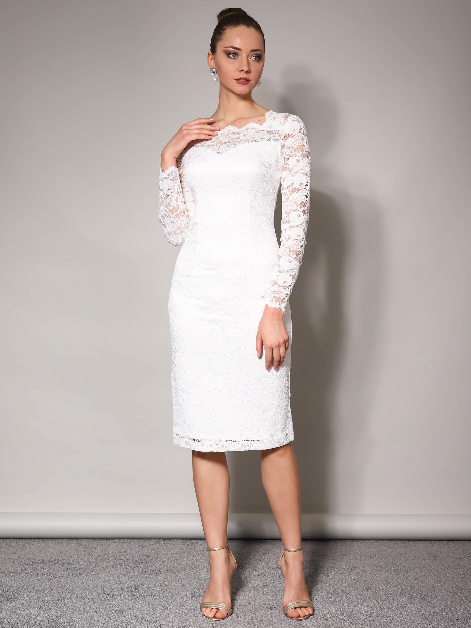 Свадебное платье кружевное с облегающей юбкой миди (молочный)