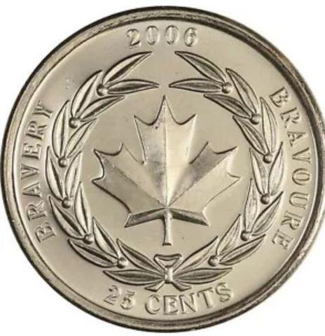 """25 центов """"Медаль за храбрость"""" 2006 год UNC"""