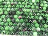 Нить бусин из рубина в цоизите, шар гладкий 8мм