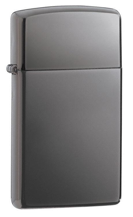 Зажигалка Zippo Slim Black Ice, латунь/сталь, чёрная, глянцевая, 30x10x55 мм