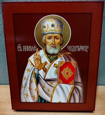 Рукописная икона Святой Николай Чудотворец 16х13см