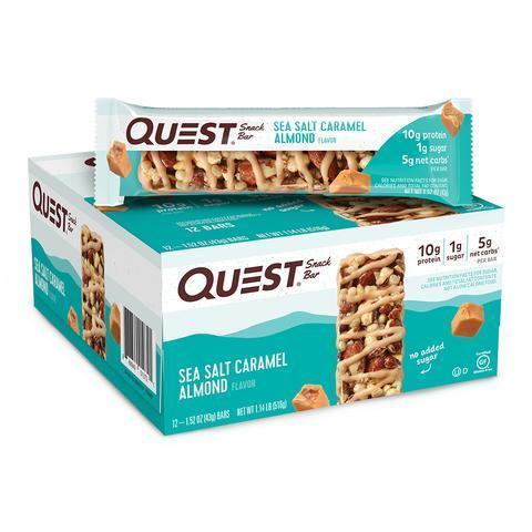 Батончики Quest Snack Ba Батончики Quest Snack Bar со вкусом карамели с морской солью и хрустящего миндаля (12 шт)r Sea Salt Caramel Almond (12 шт)
