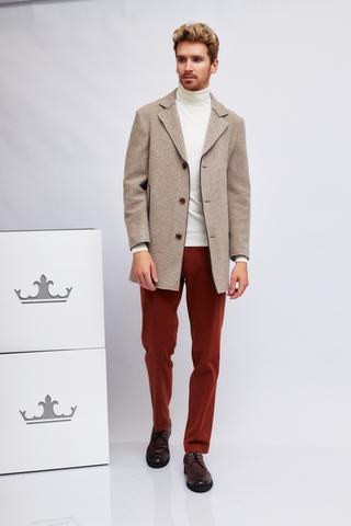 CUDGI Пальто классической модели из шерсти с контрастными краями