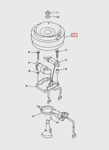 Маховик  для лодочного мотора T15, OTH 9,9 SEA-PRO (8-1)