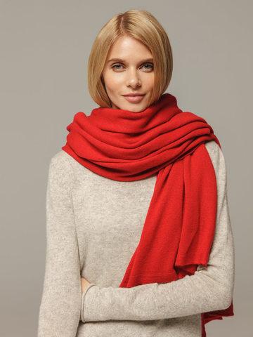 Женский шарф красного цвета из 100% кашемира - фото 4