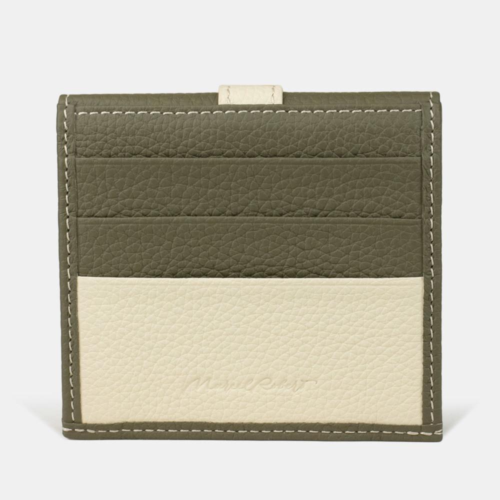 Картхолдер-кошелек Perle Bicolor из натуральной кожи теленка, зеленого цвета