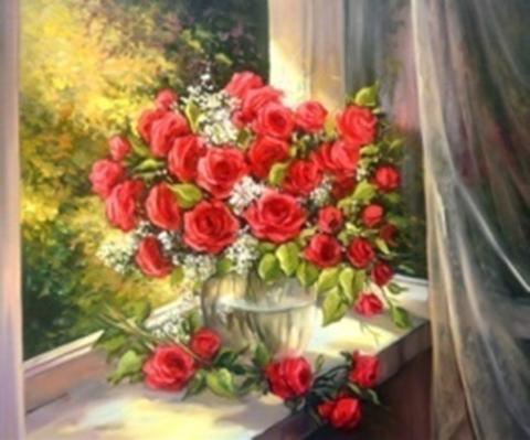 Картина раскраска по номерам 30x40 Красные розы на подоконнике (арт. KTL2130)