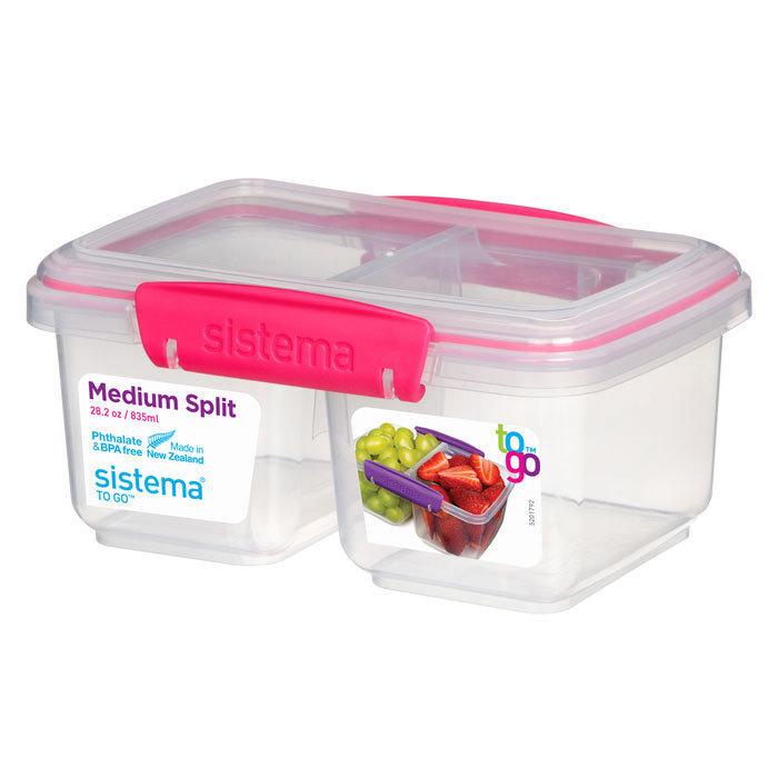 """Контейнер пищевой Sistema """"TO GO"""", двойной, 835 мл, цвет Розовый"""