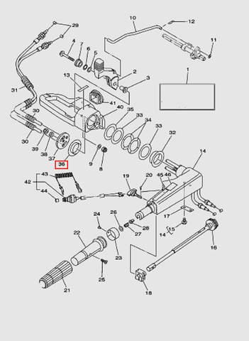 Втулка румпеля для лодочного мотора T40 Sea-PRO (14-36)