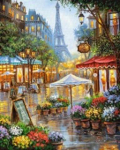 Картина раскраска по номерам 40x50 Улица Парижа