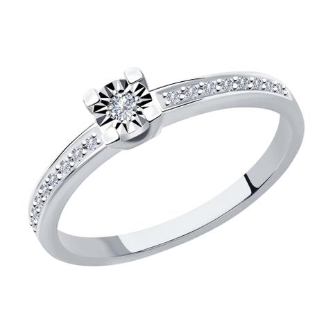 1012023 - Помолвочное кольцо из белого золота с бриллиантами