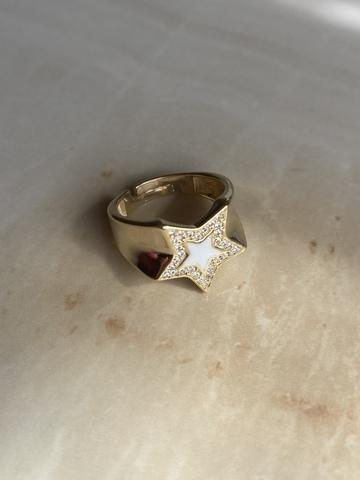 Кольцо Старфолл белое, позолоченное серебро