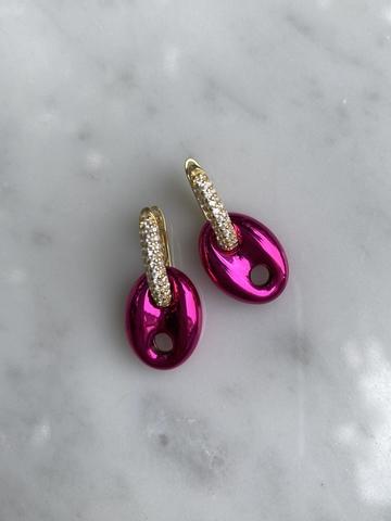 Серьги Баттон из позолоченного серебра, розовые