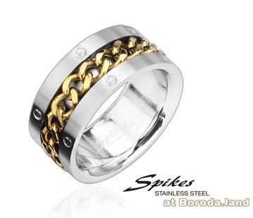 R8015 Стальное мужское кольцо «Spikes» с цепью золотого цвета