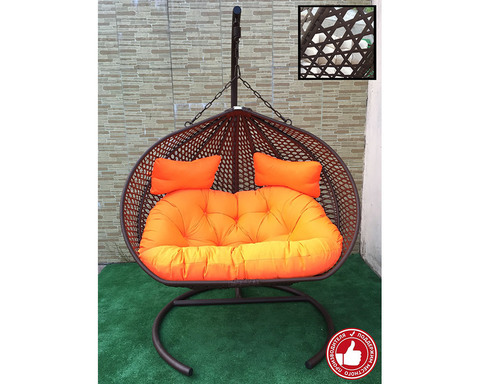 Двухместное подвесное кресло Сомбрерро Cross коричневое