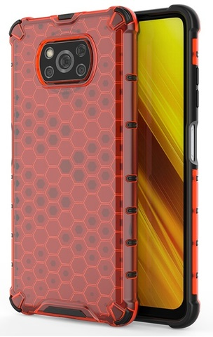 Чехол ударопрочный в красном корпусе для Xiaomi Poco X3 NFC от Caseport, серия Honey