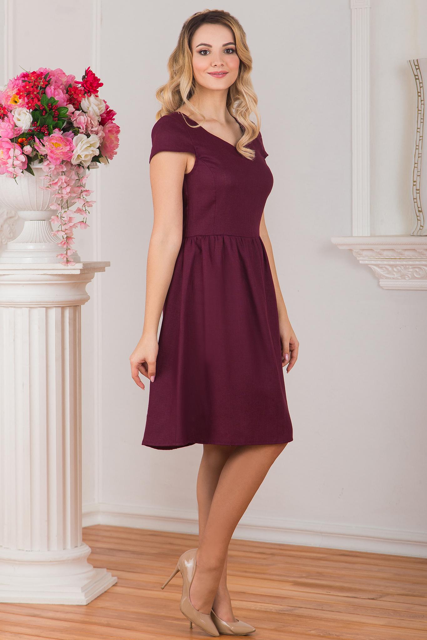 Платье льняное Черешня вид сбоку