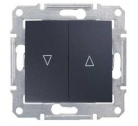 Выключатель для жалюзи с электрической блокировкой 10А. Цвет графит. Schneider Electric Sedna. SDN1300170