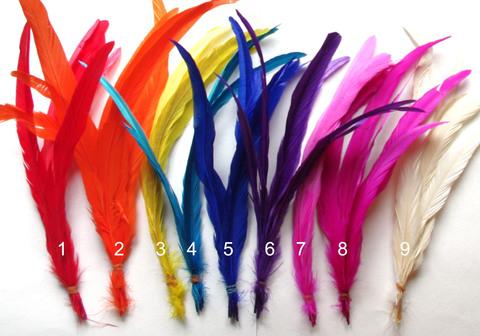 Перья петуха, 30 см. ( 5 шт.),  (выбрать цвет)