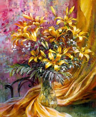 Картина раскраска по номерам 50x65 Желтые цветы у желтой шторы