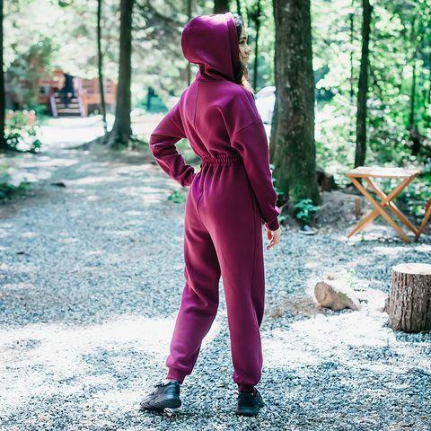 Warm oversized jumpsuit for women - Plum