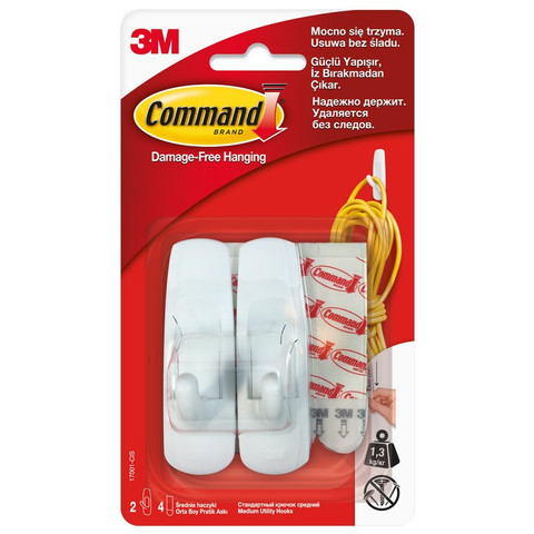 Крючки Command белые нагрузка до 1.35 кг (2 штуки + 4 клейких полоски)