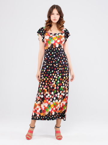 Фото удлиненное платье в горох с вырезом трапеция - Платье З168-424 (1)