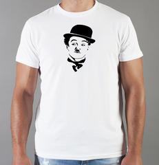 Футболка с принтом Чарли Чаплин (Charlie Chaplin) белая 004